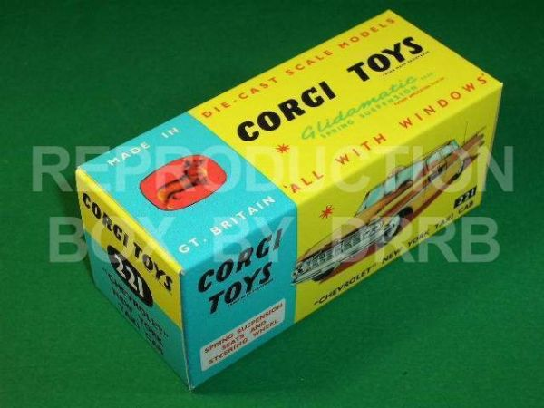 Corgi #221 Chevrolet New York Taxi - Reproduction Box